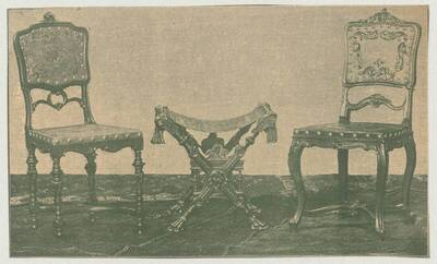 Illustration of two armchairs of various styles and a stool with covered seat in the Roman style, exhibited at the 12th Viennese furniture industry exhibition in 1895 (vom Bearbeiter vergebener Titel)