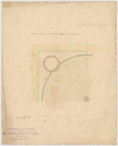 Entwurfszeichnung für ein feines Ornament mit Kränzen aus Rosenblüten und grünen Zweigen, als Wanddekoration für ein Toilett- und Frühstückszimmer neben dem Bad (vom Bearbeiter vergebener Titel)