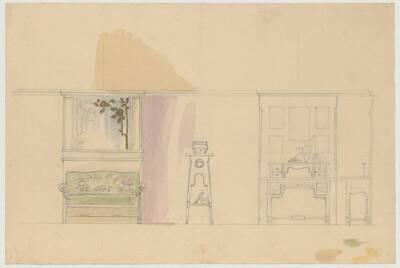 Entwurfszeichnung für ein Einrichtung mit Sofa, hohem Ziertisch und einem Schreibtisch mit Wandaufbau (vom Bearbeiter vergebener Titel)