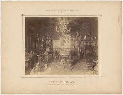"Photograph of the ""Bibliothekzimmer"" [Library Room] at the electric exhibition in Vienna in 1883, designed by Otto Hieser and executed by Johann Klöpfer (vom Bearbeiter vergebener Titel)"