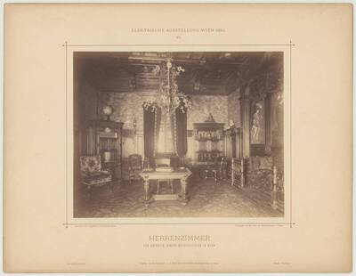 "Photograph of the ""Herrenzimmer"" [Smoking Room] at the electric exhibition in Vienna in 1883, designed and executed by Heinrich Irmler (vom Bearbeiter vergebener Titel)"