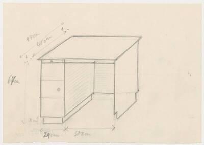 Skizze des Schreibtischs für das Wohn- und Speisezimmer für Herrn Dr. Adolf Stimpfl in Mariazell (vom Bearbeiter vergebener Titel)