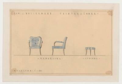Ansicht eines Armsessels und eines Hockers für ein Tochterzimmer in Commission für Jakob Wassermann (vom Bearbeiter vergebener Titel)
