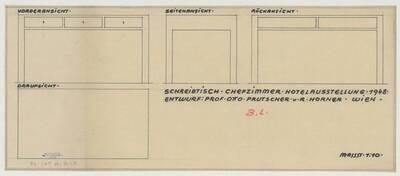 Detailansicht des Schreibtischs für das Chefzimmer der Hotel-Ausstellung des Wirtschaftsförderungsamtes 1948 im Messepalast Wien (vom Bearbeiter vergebener Titel)