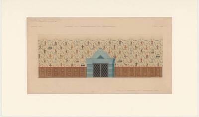 Entwurf zur Wandbehandlung des Kindergartens in einem Wohnhaus der Gemeinde Wien V., Stöbergasse 4-20 (Heinehof) (vom Bearbeiter vergebener Titel)