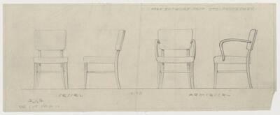 Entwurf für einen Sessel und einen Armsessel (vom Bearbeiter vergebener Titel)