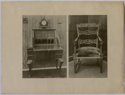 Ansicht eines Schreibschranks aus einem Damenzimmer und eines Armsessels aus einem Herrenzimmer (vom Bearbeiter vergebener Titel)