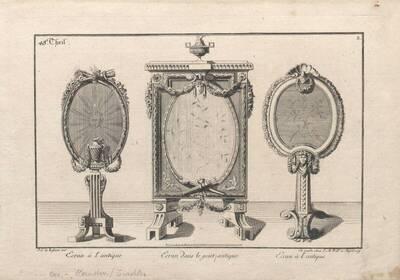 Drei Kaminschirme, Blatt 3 aus dem 48. Teil des von J. M. Will verlegten Reihenwerks nach französischen Vorbildern (vom Bearbeiter vergebener Titel)