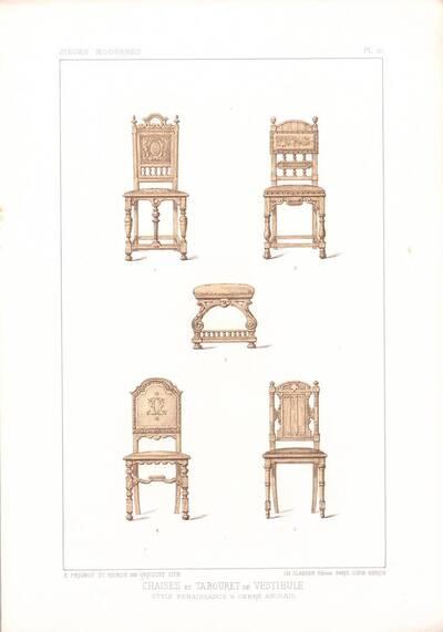 """Fünf Stühle, Blatt 10 aus der 3. Folge des Reihenwerks """"La Tenture Moderne par Eug. Prignot etc."""" mit dem Untertitel """" Le Siège moderne par Eug. Prignot"""", herausgegeben von Ch. Claesen (vom Bearbeiter vergebener Titel)"""