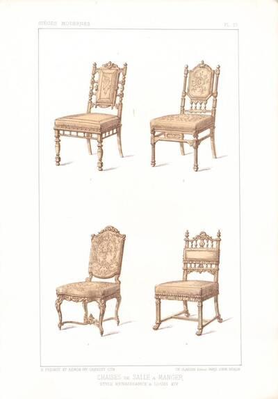 """Vier Stühle, Blatt 13 aus der 3. Folge des Reihenwerks """"La Tenture Moderne par Eug. Prignot etc."""" mit dem Untertitel """" Le Siège moderne par Eug. Prignot"""", herausgegeben von Ch. Claesen (vom Bearbeiter vergebener Titel)"""