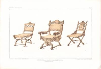 """Drei Stühle, Blatt 17 aus der 3. Folge des Reihenwerks """"La Tenture Moderne par Eug. Prignot etc."""" mit dem Untertitel """" Le Siège moderne par Eug. Prignot"""", herausgegeben von Ch. Claesen (vom Bearbeiter vergebener Titel)"""