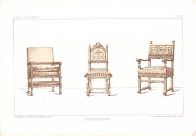 """Drei Sessel, Blatt 19 aus der 3. Folge des Reihenwerks """"La Tenture Moderne par Eug. Prignot etc."""" mit dem Untertitel """" Le Siège moderne par Eug. Prignot"""", herausgegeben von Ch. Claesen (vom Bearbeiter vergebener Titel)"""