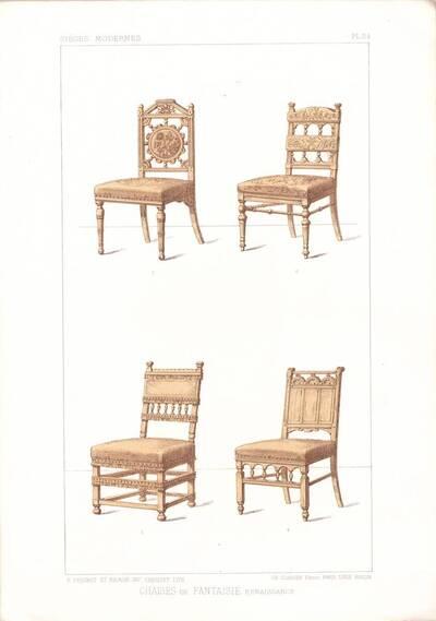"""Vier Stühle, Blatt 24 aus der 3. Folge des Reihenwerks """"La Tenture Moderne par Eug. Prignot etc."""" mit dem Untertitel """" Le Siège moderne par Eug. Prignot"""", herausgegeben von Ch. Claesen (vom Bearbeiter vergebener Titel)"""
