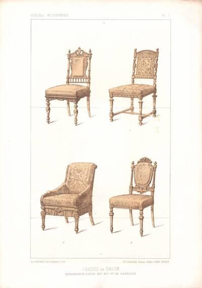 """Vier Stühle, Blatt 1 aus der 3. Folge des Reihenwerks """"La Tenture Moderne par Eug. Prignot etc."""" mit dem Untertitel """" Le Siège moderne par Eug. Prignot"""", herausgegeben von Ch. Claesen (vom Bearbeiter vergebener Titel)"""