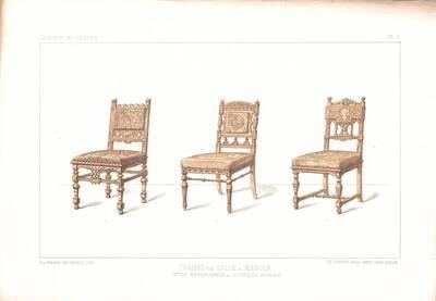"""Drei Stühle, Blatt 6 aus der 3. Folge des Reihenwerks """"La Tenture Moderne par Eug. Prignot etc."""" mit dem Untertitel """" Le Siège moderne par Eug. Prignot"""", herausgegeben von Ch. Claesen (vom Bearbeiter vergebener Titel)"""