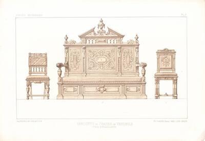 """Zwei Stühle und eine Bank, Blatt 7 aus der 3. Folge des Reihenwerks """"La Tenture Moderne par Eug. Prignot etc."""" mit dem Untertitel """" Le Siège moderne par Eug. Prignot"""", herausgegeben von Ch. Claesen (vom Bearbeiter vergebener Titel)"""