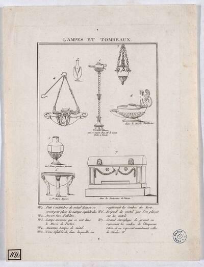 LAMPES ET TOMBEAUX [Antike Lampen, Vase, Urne und Sarkophag] (Originaltitel)