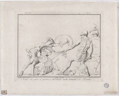Socrate che salva il giovine Alcibiade nella battaglia di Potidèa [Sokrates rettet den jungen Alcibiades in der Schlacht von Potidea / nach einem Relief von Canova] (Originaltitel)