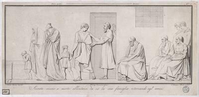 Socrate vicino a morte Montana allontana da sé la sua famiglia, ritornando agl´amici [Der totgeweihte Sokrates wendet sich von seiner Familie ab und kehrt zu seinen Freunden zurück / nach einem Relief von Canova] (Originaltitel)