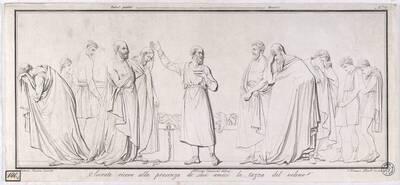 Socrate riceve alla presenza de' suoi amici la tazza del veleno [Sokrates nimmt das Gift in Gegenwart seiner Freunde / nach einem Relief von Canova] (Originaltitel)