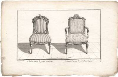 """""""Chaise dans le gout antique. Fauteuil dans le gout antique."""", Blatt aus der Folge A (Stühle) aus dem Reihenwerk, herausgegeben von Daumont (vom Bearbeiter vergebener Titel)"""