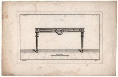 Schreibtisch, Blatt 60 aus der 10. Folge aus dem Reihenwerk, herausgegeben von Lepère und Avaulez (vom Bearbeiter vergebener Titel)
