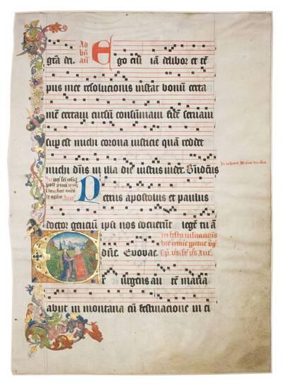 Blatt eines Missales mit Historisierter Initiale (vom Bearbeiter vergebener Titel)