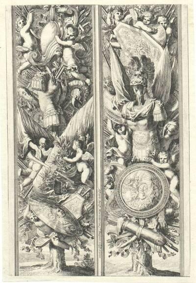 """Zwei vertikale Füllungen mit Trophäen, Blatt aus der Folge """"Montans de trophées d' armes a l' antique"""", herausgegeben von P. Mariette (vom Bearbeiter vergebener Titel)"""