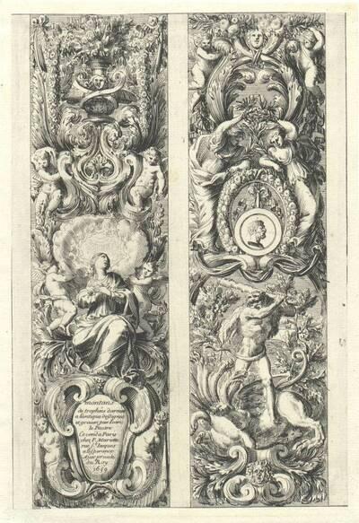 """Zwei vertikale Füllungen, Titelblatt aus der Folge """"Montans de trophées d' armes a l' antique"""", herausgegeben von P. Mariette (vom Bearbeiter vergebener Titel)"""