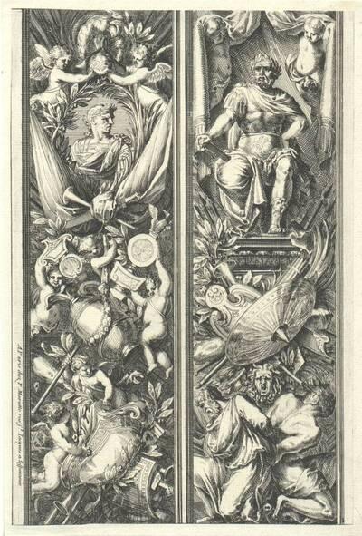 """Zwei vertikale Füllungen, Blatt aus der Folge """"Montans de trophées d' armes a l' antique"""", herausgegeben von P. Mariette (vom Bearbeiter vergebener Titel)"""