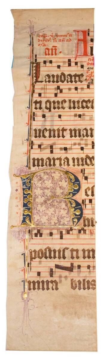 Halbes Blatt eines Missales mit Fleuronnée-Initiale B (vom Bearbeiter vergebener Titel)