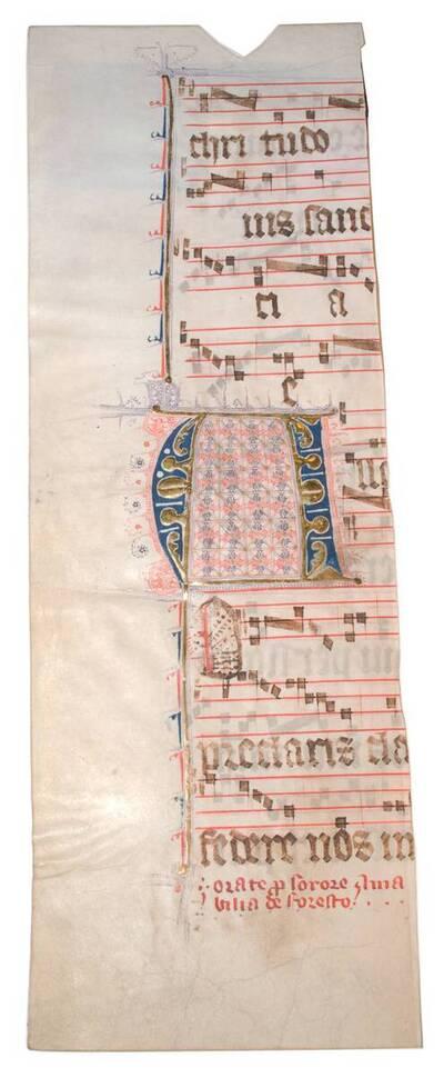 Halbes Blatt eines Missales mit Fleuronnée-Initiale (vom Bearbeiter vergebener Titel)