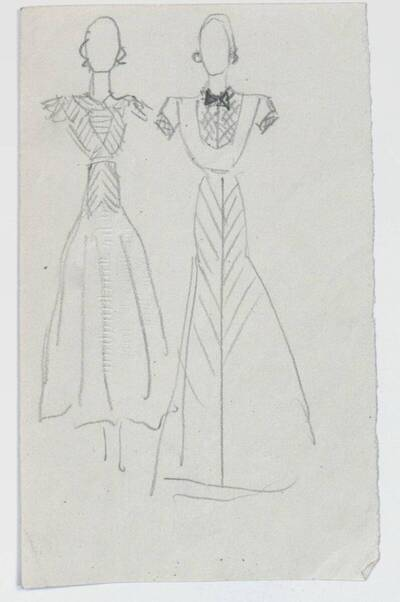 Skizzen zweier Abendkleider (vom Bearbeiter vergebener Titel)