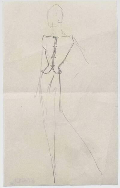 Skizze eines Abendkleides mit Weste (vom Bearbeiter vergebener Titel)