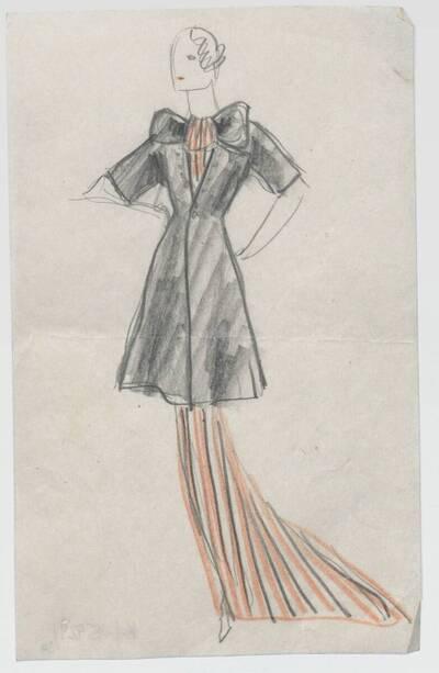 Skizze eines Abendkleids mit Mantel (vom Bearbeiter vergebener Titel)