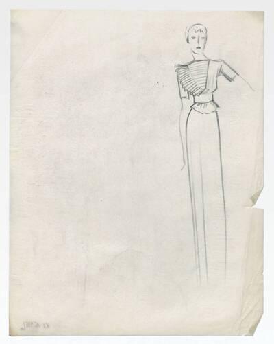 Skizze eines Kleides (vom Bearbeiter vergebener Titel)