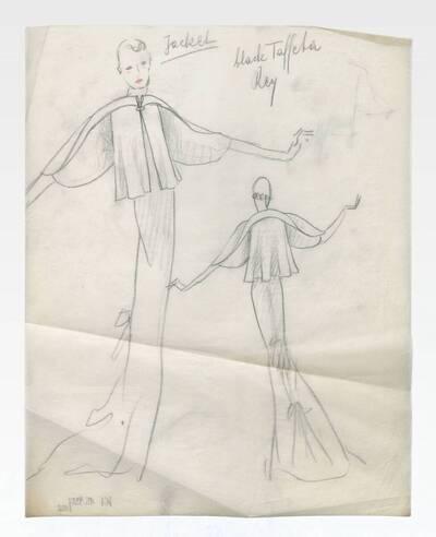 Skizze eines Abendkleides mit Cape (vom Bearbeiter vergebener Titel)