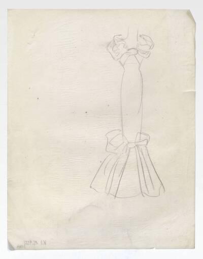 Skizze eines Abendkleides (vom Bearbeiter vergebener Titel)