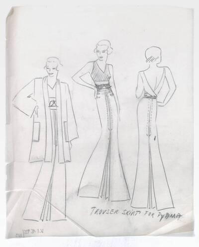 Skizze eines Abendkleides und eines Mantels (vom Bearbeiter vergebener Titel)