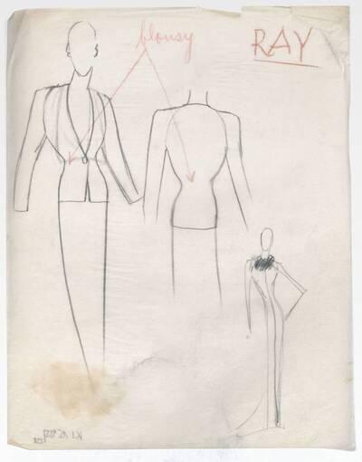 Skizze eines Blazers und eines Abendkleides (vom Bearbeiter vergebener Titel)