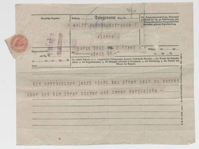 Telegramm Ernst Deutsch-Drydens an Hello (vom Bearbeiter vergebener Titel)
