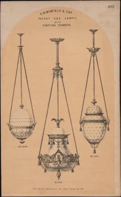 Musterblatt von drei Gaslampen der Firma R. W. Winfield & Co. (vom Bearbeiter vergebener Titel)