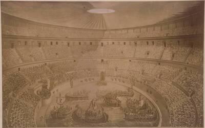 Fotografie eines Gemäldes mit der Darstellung der Inauguration von Kaiser Titus im Kolosseum (vom Bearbeiter vergebener Titel)