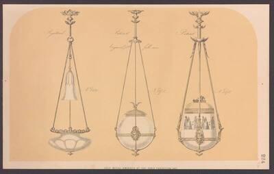 Drei Deckenlampen mit Gasbetrieb