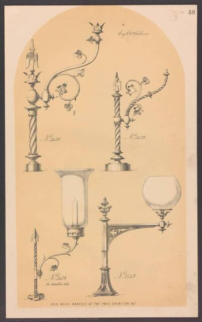 Drei Gaslampen und ein Kerzenleuchter