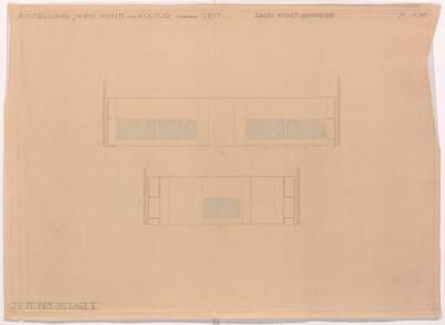 Aufriss für die kunstgewerbliche Abteilung der Ausstellung