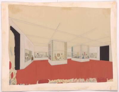 Farbige Raumskizze von Carl Witzmann für die kunstgewerbliche Abteilung der Ausstellung
