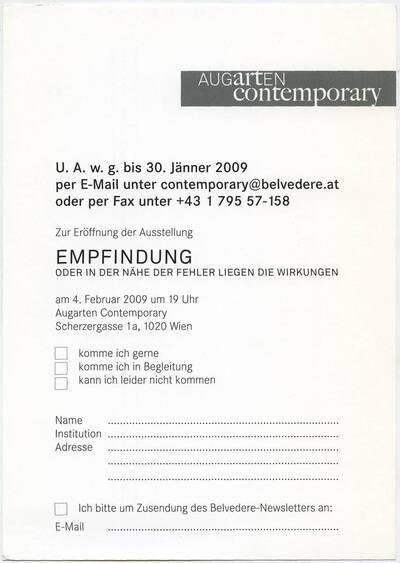 Anmeldeformular zur Eröffnung der Ausstellung