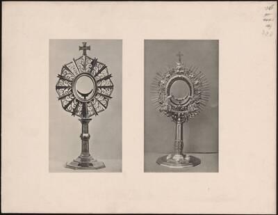 Lichtdruck zweier Monstranzen von Karl Bräuer und Julius Grünfeld bzw. Adolf Otto Holub in der Ausstellung für kirchliche Kunst 1912 (vom Bearbeiter vergebener Titel)