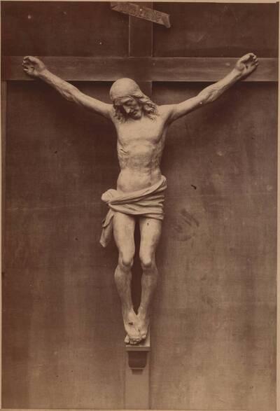 Fotografie eines Kruzifix aus Holz, von Andrea Verrocchio, aus dem 15. Jh. (vom Bearbeiter vergebener Titel)